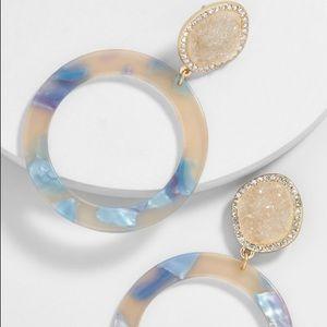 BaubleBar Devinne Resin Druzy Hoop Earrings-Beige